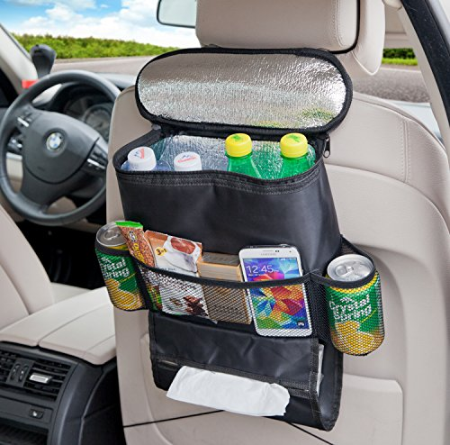 Deler Insulated Auto Seat Back Organizers Bottle Drinks Holder / Multi-Pockets Travel Storage Bag / Car Seats