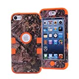 iPod Touch 5 Case,iPod Touch 6 Case, LOOKLY 3 in 1 Hybrid Shockproof High Impact Camouflage Hunting Tree Forest Protective [Hard PC+Soft Silicone] Case For Apple iPod touch 5 6th Generation (Orange)