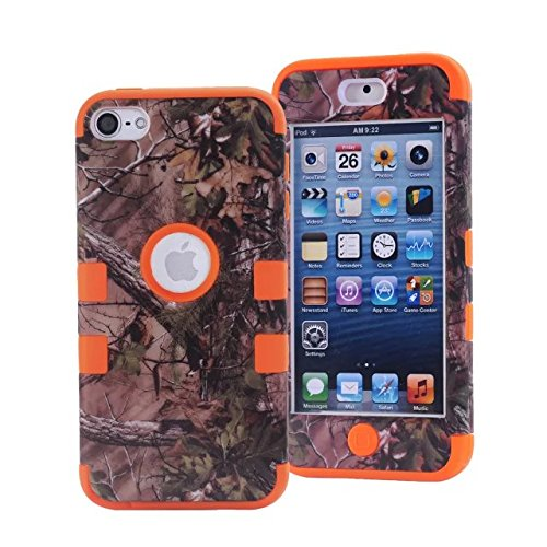 iPod Touch 5 Case,iPod Touch 6 Case, L00KLY 3 in 1 Hybrid Shockproof High Impact Camouflage Hunting Tree Forest Protective [Hard PC+Soft Silicone] Case For Apple iPod touch 5 6th Generation (Orange)