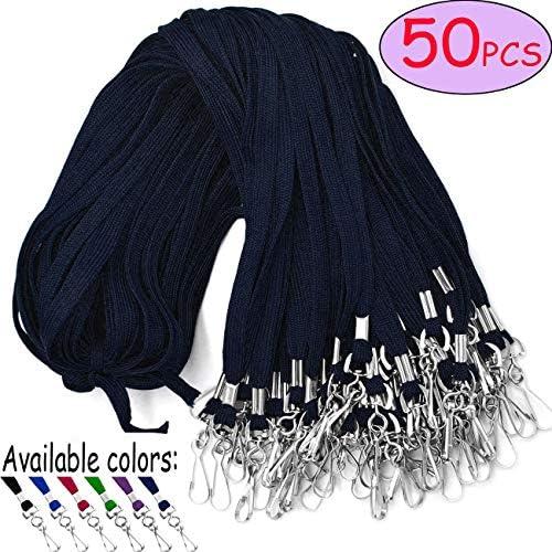 Umhängeband mit Drehhaken, 50 Stück, für Namensschilder Marineblau/Blau