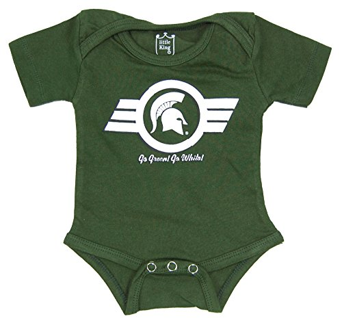 Little King NCAA Michigan State Spartans Diaper Shirt Romper, 3M, Dark (Ncaa Baby Clothing)