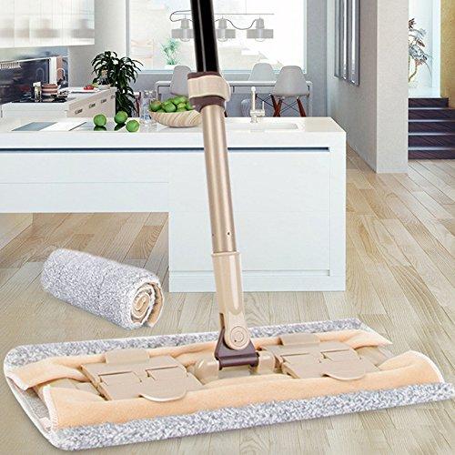 Elvoes Microfiber Flat Mop Professional 360 Degree Hardwood Floor Mop with 50- 70 Adjustable Handle, Wet/Dry Mop with Scraper for Bathroom, Kitchen, Tile and Hardwood Floor Cleaning