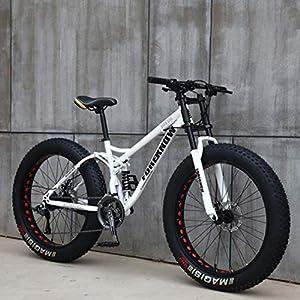 517BuCT80jL. SS300 AISHFP Mens 24 Pollici Fat Tire Mountain Bike, Biciclette Spiaggia Neve, Doppio Freno a Disco Cruiser Biciclette…