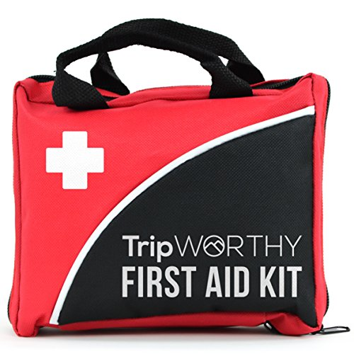 Tripworthy Compact First Aid Kit for Medical Emergency - for Home, Car, Camping, Hiking, Sport, Work, Office, Boat, Survival, and Traveling - Small and Lightweight First Aid Bag (Best Survival Medical Kit)