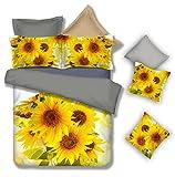 Morpheus 100% Egyptian Cotton Sunflowers Pattern Digital Printing 4-Piece Bed Sheet Set, Yellow