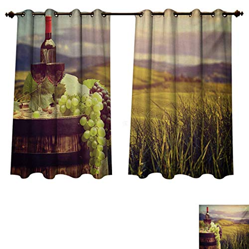Wine Blackout Curtains Panels for Bedroom Italy Tuscany Landscape Rural Vineyard Autumn Harvest Grapes Drink Viticulture Decorative Curtains For Living Room Green Black Brown W63 x L45 inch