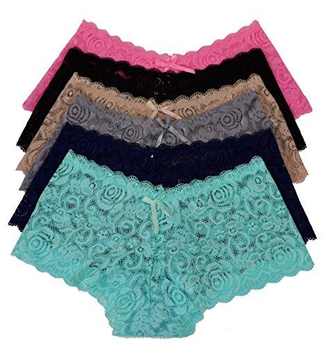 Viola's Secret Lace Boyshort Underwear Pack Of 12 Women Panty (M, P6662)