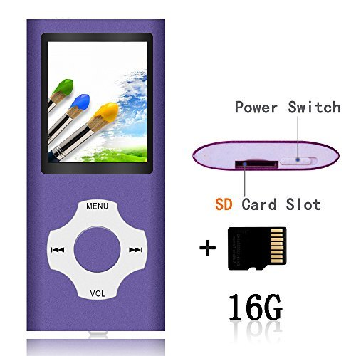 Tomameri-Compact MP3/ MP4 Player with Rhombic Button (Including a 16 GB Micro SD Card) Supporting E-Book Reader and Voice Recorder and FM Radio Video Movie (Purple)