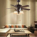 Akronfire Retro Ceiling Fan Remote Control Mute Fan Chandelier with 5 Wood Blades Reversible for Living Room Dinning Room 52 Inch