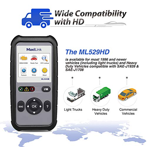 Autel ML529HD OBD2 Scan Tool Upgraded ML519 with Enhanced Mode 6/One-Key Ready Test for Heavy-Duty J1939 & J1708 with AutoVIN/Internet Updatable/Print Data by Autel (Image #3)