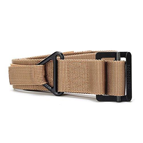 Survival Tactical Belt, Emergency Fire Rescue Rigger Waist Belt Military CQB Belt for Hunting Emergency Rigger Survival (Khaki)