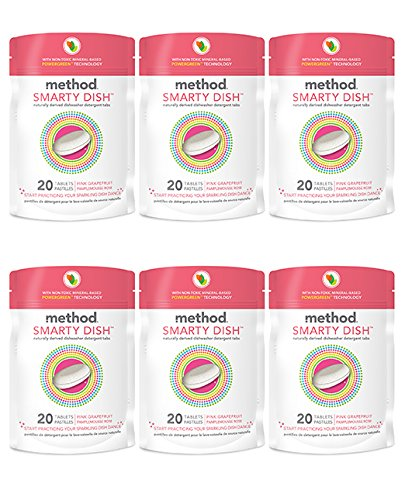 Method Naturally Derived Smarty Dish Dishwashing Tablets, Pink Grapefruit, 20 Count (Pack of 6) by Method
