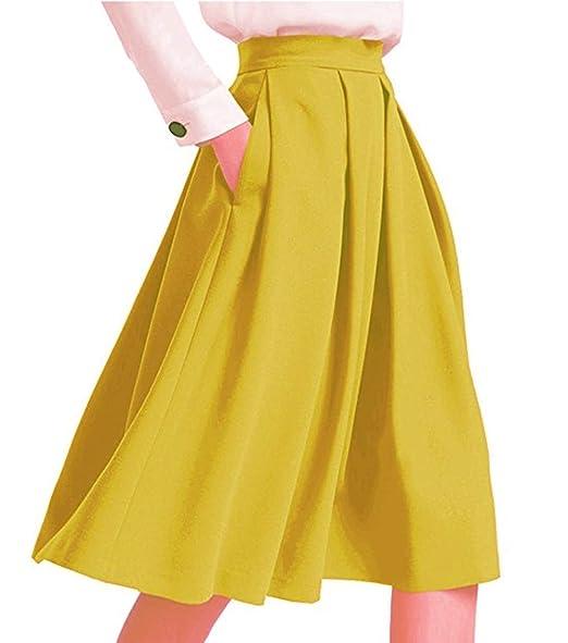 GUOCU Faldas Mujer Elegantes Cintura Alta Falda Plisada Años 50 A ...