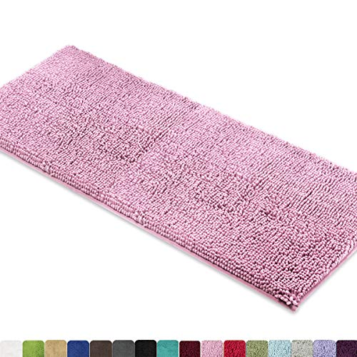 (MAYSHINE Bath mat Runners for Bathroom Rugs,Long Floor mats,Extra Soft, Absorbent, Thickening Shaggy Microfiber,Machine-Washable, Perfect for Doormats,Tub, Shower (27.5x47 inches, Pink))