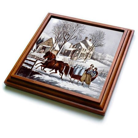 - 3dRose TDSwhite - Christmas Holidays Xmas - Vintage Currier and Ives Horse Drawn Sleigh Winter - 8x8 Trivet with 6x6 ceramic tile (trv_285083_1)