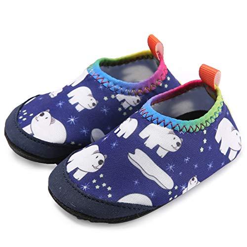 (Ceyue Toddler Water Shoes Baby Girls Boys Barefoot Swim Shoes for Indoor Outdoor Pool Beach Garden Walking Polar Bear 25/26)