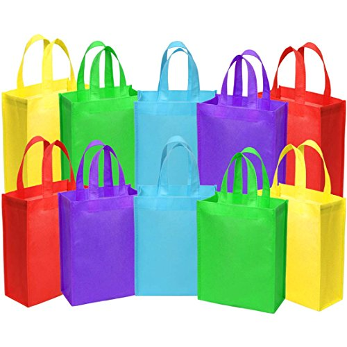 Ava & Kings Fabric Tote Party Favor Goodie Gift Bags for Candy, Treats, Toys, Loot - Birthdays, Showers, Easter, Halloween, Lunch, Grocery - Set of 10 - Solid Rainbow Colors