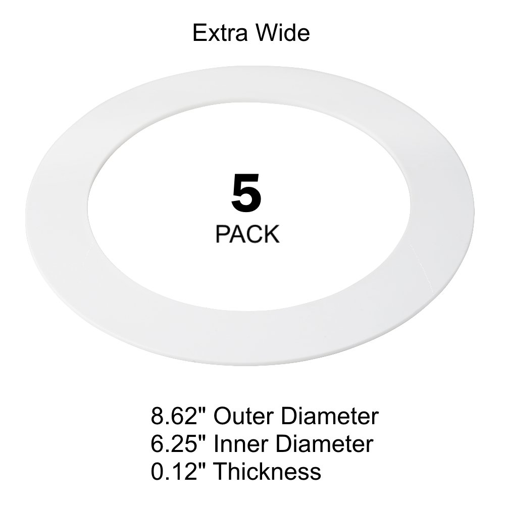 5 Pack White Plastic Trim Ring for 8'' Inch Recessed Can Down Light Oversized Lighting Fixture