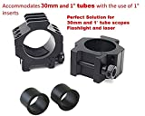 2-Piece Tactical Heavy Duty Full Metal 30mm Riflescope Low Prefile Ring Mount with Singel Picatinny Rail On Top for 20mm Picatinny Weaver Rails 2 set of Ring Spacer Included by Golden Eye Tactical