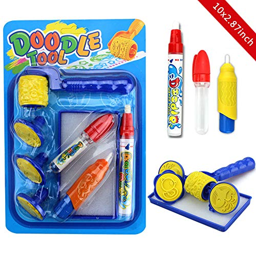 Coloring with Water Drawing Painting Pens Watermark Stamp Seal for Kids Toddlers Aqua doodle Replacement Water brush pen for aquadoodle drawing mat in 3 Pieces with 3 Stamps 1 Wheel and 1 Storage Case