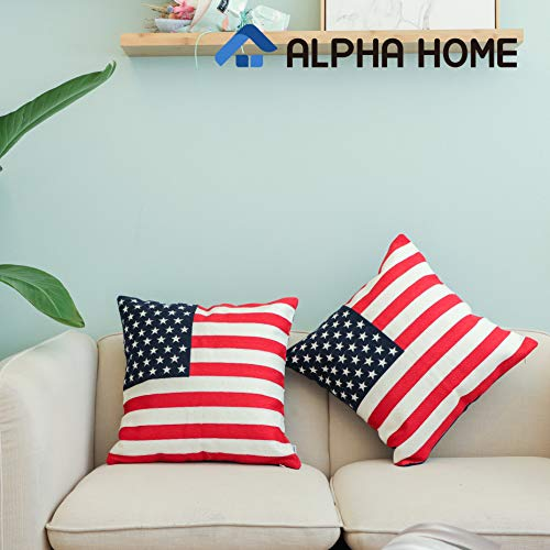 ALPHA HOME Embroidered Throw Pillow Covers Decorative Cushion Covers 18 x 18 inch, Set of 2, Flag