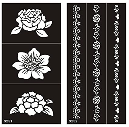 2 Hojas Plantillas de Mehndi tatuaje Stencils autoadhesivo de ...