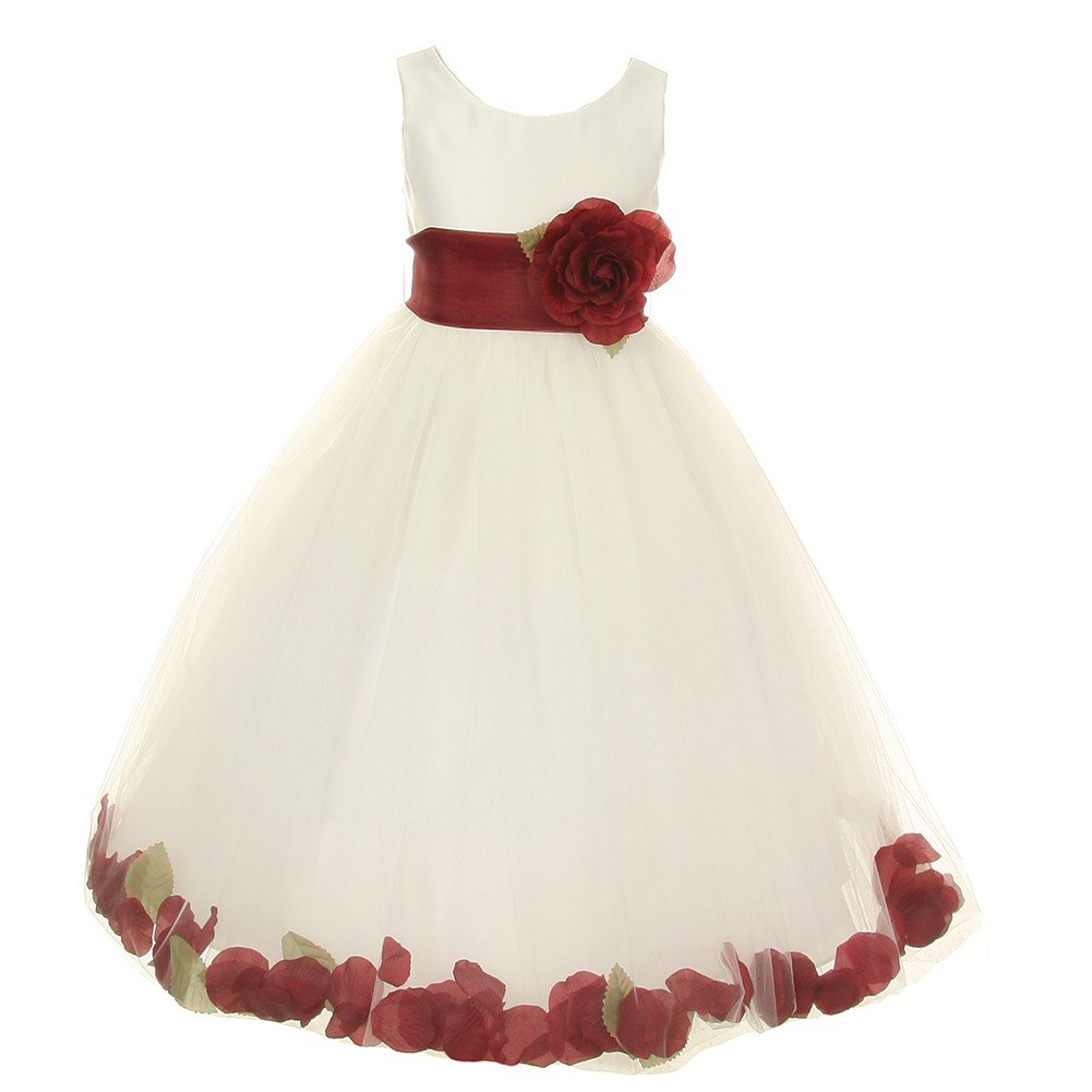 aac05c076ba8 Amazon.com: Cinderella Couture Little Girls Ivory Burgundy Petal Adorned Satin  Tulle Flower Girl Dress 2T-6: Clothing