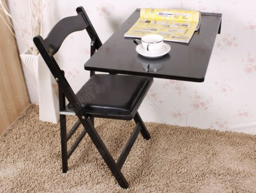 Haotian Wall-mounted Drop-leaf Table, Folding Kitchen & Dining Table Desk, Solid Wood Children Table, 70cm(27.5in)×45cm(17.7in), FWT04-SCH(BLACK)