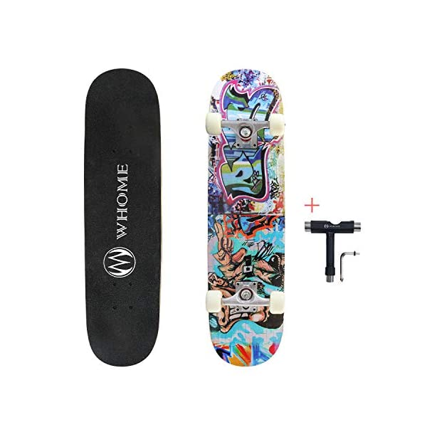 WHOME Pro Skateboard Complete for Adult Youth Kid and Beginner – 31″ Double Kick Concave Street Skateboard 8 Layer Alpine Hard Rock Maple Deck ABEC-9 Bearings Includes T-Tool