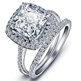 TIVANI Women's 2PCS Pretty 18K White Gold Plated Princess Cut CZ Bridal Engagement Wedding Band Set Best Anniversary Promise Rings for Her Eternity Love Collection Jewelry Heart Arrow Rings (10)