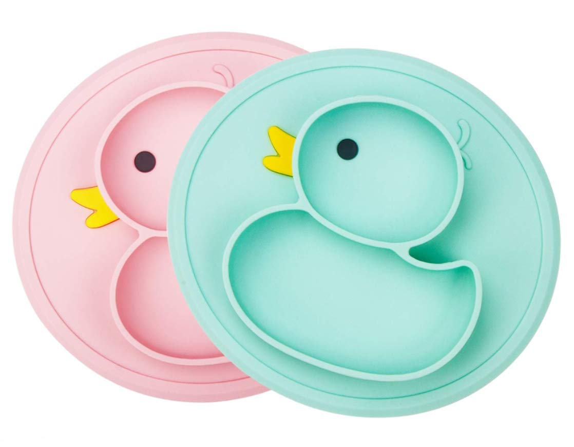 Baby Plate Silicone Toddler Plates Suction Placemat Divided Dishes for Kids and Infants One-Piece Strong Suction FDA Approved, BPA Free, Microwave Dishwasher Safe (pink&green) by Lightening