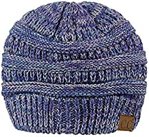 C.C Trendy Warm Chunky Soft Stretch Cable Knit Beanie Skully, Blue/Purple/Gray
