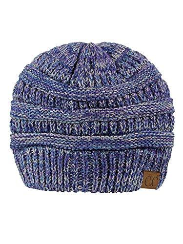 C.C Trendy Warm Chunky Soft Stretch Cable Knit Beanie Skully, Blue/Purple/Gray ()