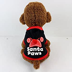Pet Clothes,IEason Hot Sale! New Puppy Christmas Dog Clothes Footprints Hoodie (L, Black)