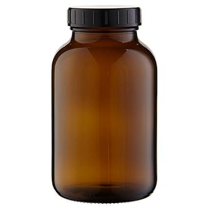 1 x cuello largo botella de 1000 ml de vidrio ámbar con cierre de rosca con