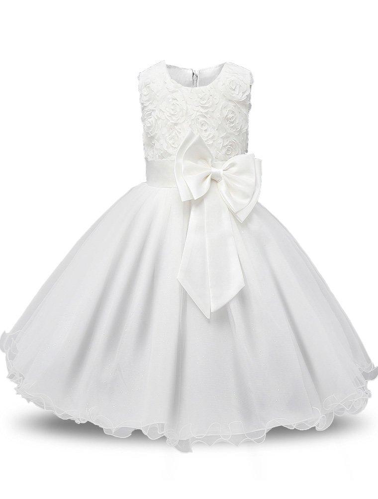 Mallimoda Girl's Lace Tulle Flower Princess Wedding Dress Toddler Baby Girl Style 2 White 2 Years
