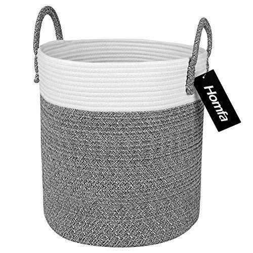 Homfa Cotton Rope Storage Basket, Decorative Woven Baby Laundry Hamper with Solid Handles for Kids Toy, Blanket, Nursery Living Room 13 x 13 x 15 Inch Neutral White Gray