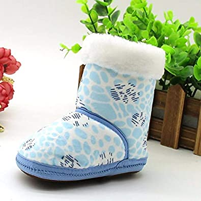 Hot Toddler Snow Boot,Winter Infant Newborn Baby Warm Christmas Printed Soft Sole Prewalker Shoes