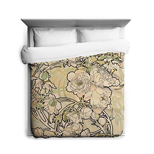 Alphonse Mucha Flowers - Sharp Shirter Peonies Flower, Alphonse Mucha, Duvet Cover