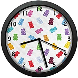 Vibrant Colored Gummy Bears Candies Delicious Jelly Sugary Snack Chewy Sweet TasteWall Clock Home Office School Clock 12in