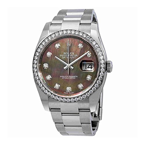 Rolex Datejust Black Mother of Pearl Diamond Dial Automatic Ladies Oyster Watch 116244BMDO