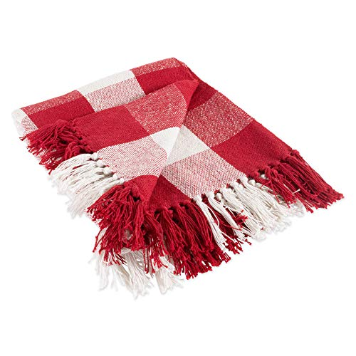 DII CAMZ11256 Rustic Farmhouse Throw Blanket with Decorative Tassles, Use for Chair, Couch, Bed, Picnic, Camping, Beach, Just Staying Cozy at Home, Red & White]()