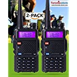 CIBN Toronto-Store 2-pin Headset Earpiece (Suitable for UV-5RE UV-5R BF-F8+ BF-F8HP Series) + Baofeng UV-5R 136-174/400-520MHz Dual-Band DTMF FM Ham Walkie Talkie,(2-PCS)
