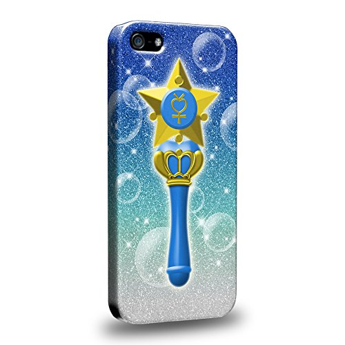 Case88 Premium Designs Art Sailor Moon Crystal Sailor Mercury Wand Protective Snap-on Hard Back Case Cover for Apple iPhone 5 5s