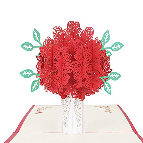Mothers Day Rose Bouquet Pop Up Cards - Handmade Flower Pop Up Greeting Cards Gift Ideas for Mom Wife Girlfriends Husband Couple, Teacher Appreciate Wedding Gifts Invitations Birthday Thank You Cards ()
