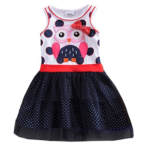 VIKITA Girls Summer Cute Owl Blue & White Sundress Short Sleeve Casual Cotton Dress SH5066 3T ()