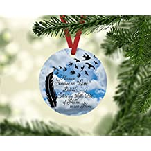 "Because Someone We Love is in Heaven Clouds Christmas Ornament 3"" diameter aluminum Flat Handmade"