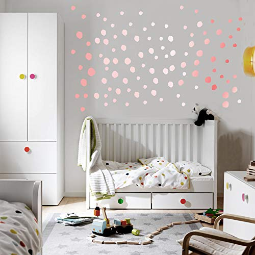 Rose Gold Dot Wall Stickers - 222 Decals Vinyl Circle Easy Peel Dot Wall Decals Art Glitter Wall Decor Sticker for Kids Room Baby Nursery Room