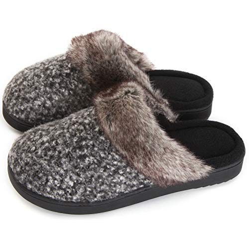 Women's Soft Yarn Cable Knitted Slippers Memory Foam Anti-Skid Sole House Shoes w/Faux Fur Collar, Indoor & Outdoor ()