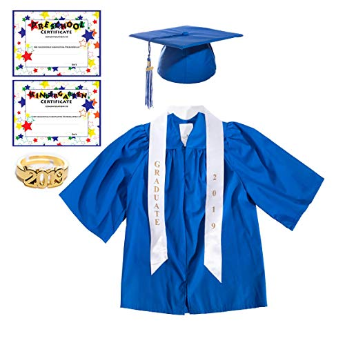 Blue Preschool Graduation Cap, Gown, Tassel, Sash, Ring, Certificate - Small